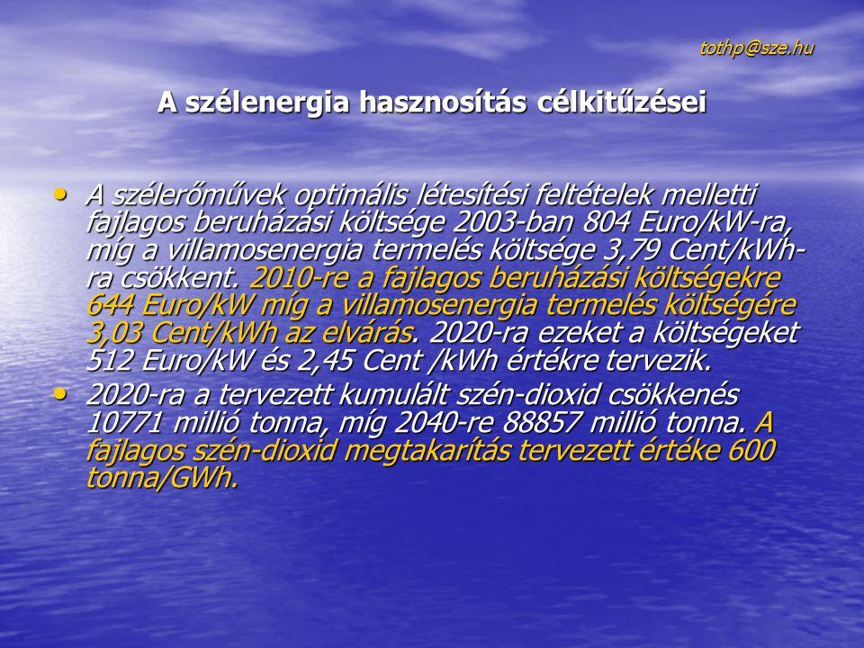 tothp@sze.hu A szélenergia hasznosítás célkitűzései • A szélerőművek optimális létesítési feltételek melletti fajlagos beruházási költsége 2003-ban 80