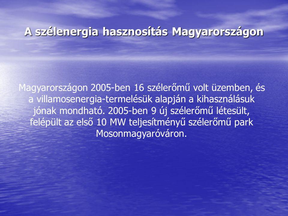 A szélenergia hasznosítás Magyarországon Magyarországon 2005-ben 16 szélerőmű volt üzemben, és a villamosenergia-termelésük alapján a kihasználásuk jó