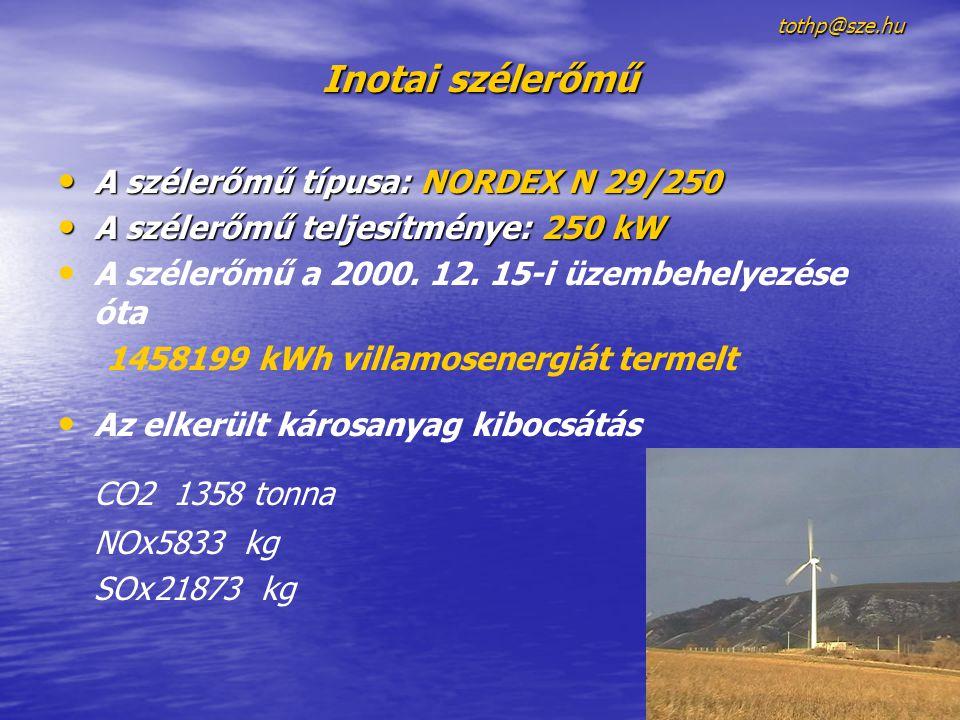 tothp@sze.hu Inotai szélerőmű • A szélerőmű típusa: NORDEX N 29/250 • A szélerőmű teljesítménye: 250 kW • • A szélerőmű a 2000. 12. 15-i üzembehelyezé