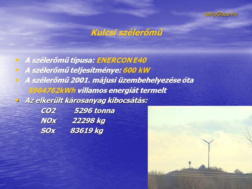 tothp@sze.hu Kulcsi szélerőmű • • A szélerőmű típusa: ENERCON E40 • • A szélerőmű teljesítménye: 600 kW • • A szélerőmű 2001. májusi üzembehelyezése ó
