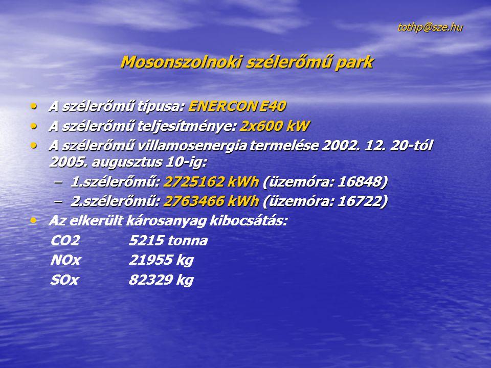 tothp@sze.hu tothp@sze.hu Mosonszolnoki szélerőmű park • A szélerőmű típusa: ENERCON E40 • A szélerőmű teljesítménye: 2x600 kW • A szélerőmű villamose