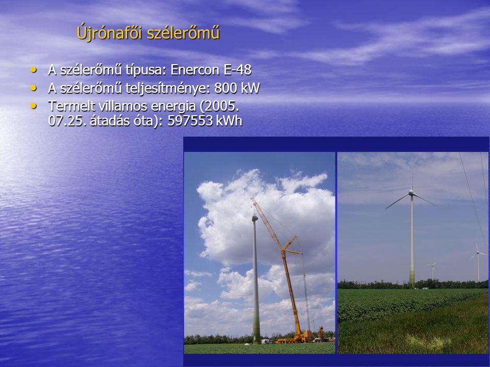 Újrónafői szélerőmű • A szélerőmű típusa: Enercon E-48 • A szélerőmű teljesítménye: 800 kW • Termelt villamos energia (2005. 07.25. átadás óta): 59755