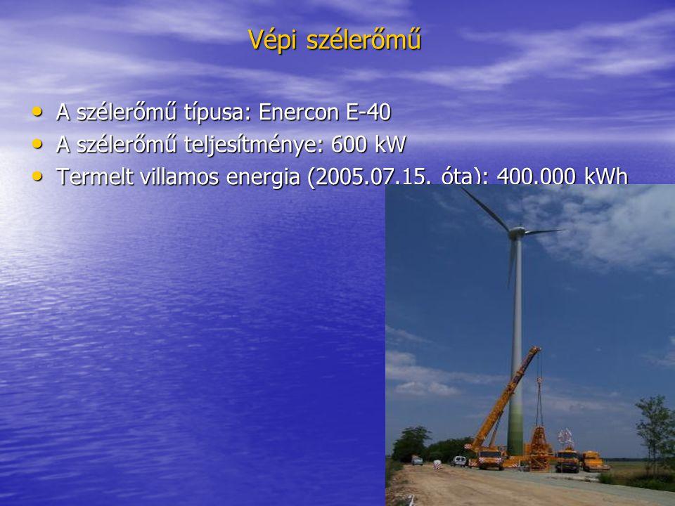 Vépi szélerőmű • A szélerőmű típusa: Enercon E-40 • A szélerőmű teljesítménye: 600 kW • Termelt villamos energia (2005.07.15. óta): 400.000 kWh