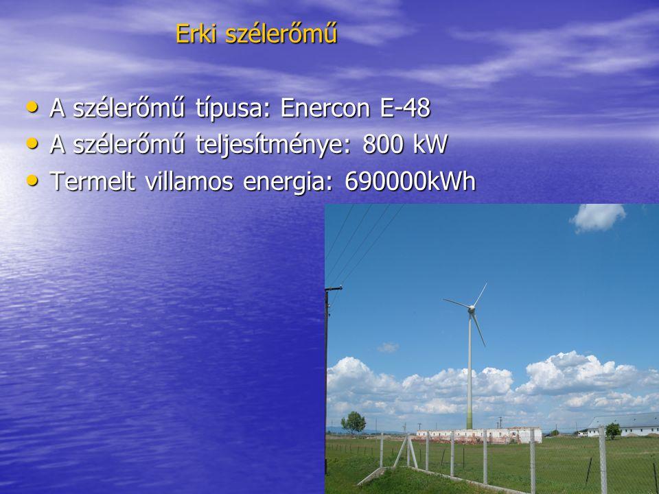 Erki szélerőmű • A szélerőmű típusa: Enercon E-48 • A szélerőmű teljesítménye: 800 kW • Termelt villamos energia: 690000kWh