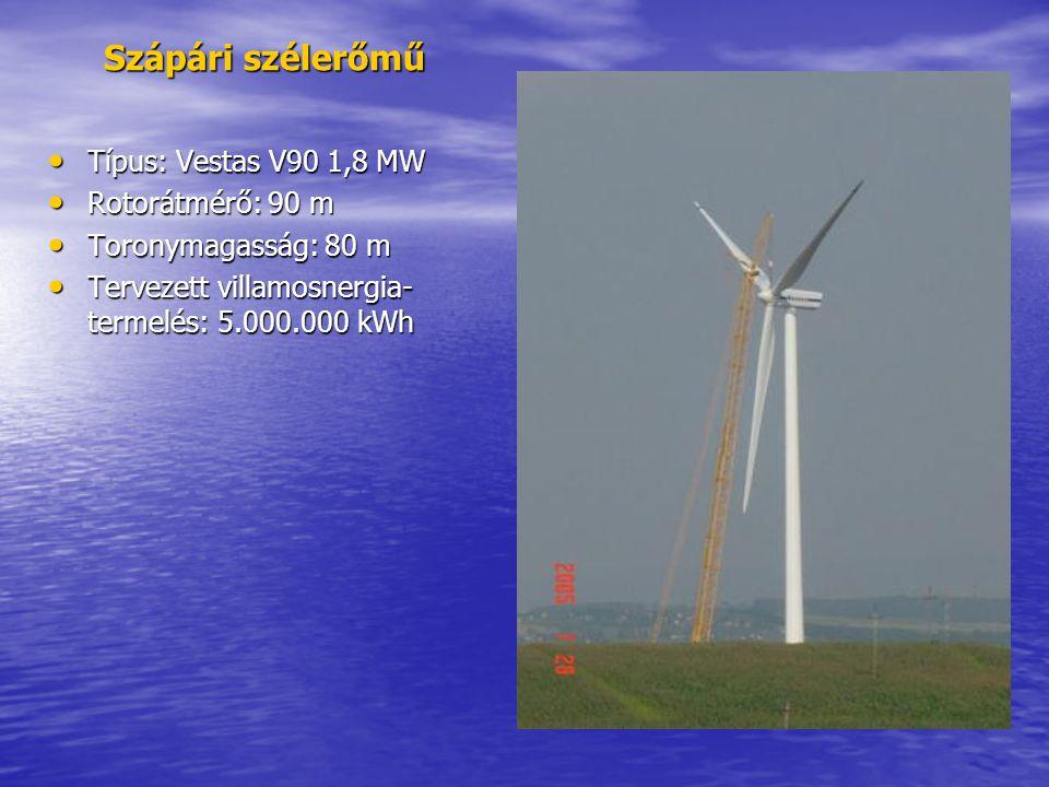 Szápári szélerőmű • Típus: Vestas V90 1,8 MW • Rotorátmérő: 90 m • Toronymagasság: 80 m • Tervezett villamosnergia- termelés: 5.000.000 kWh