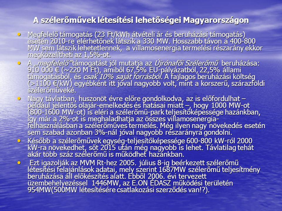 A szélerőművek létesítési lehetőségei Magyarországon • Megfelelő támogatás (23 Ft/kWh átvételi ár és beruházási támogatás) esetén 2010-re elérhetőnek