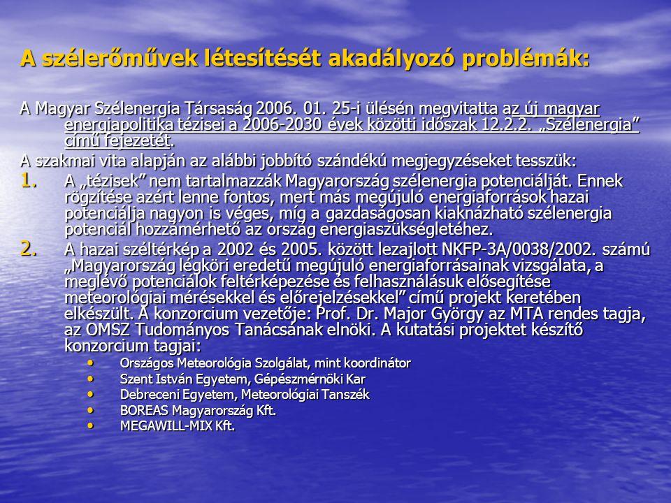 A szélerőművek létesítését akadályozó problémák: A Magyar Szélenergia Társaság 2006. 01. 25-i ülésén megvitatta az új magyar energiapolitika tézisei a