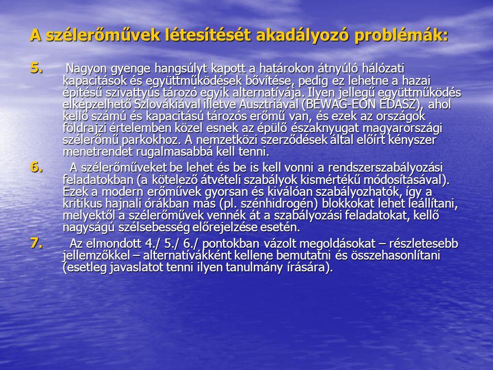 A szélerőművek létesítését akadályozó problémák: 5. Nagyon gyenge hangsúlyt kapott a határokon átnyúló hálózati kapacitások és együttműködések bővítés