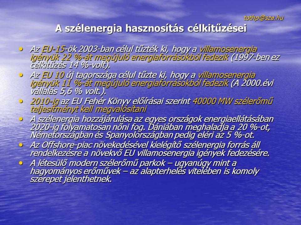 tothp@sze.hu A szélenergia hasznosítás célkitűzései • Az EU-15-ök 2003-ban célul tűzték ki, hogy a villamosenergia igényük 22 %-át megújuló energiafor