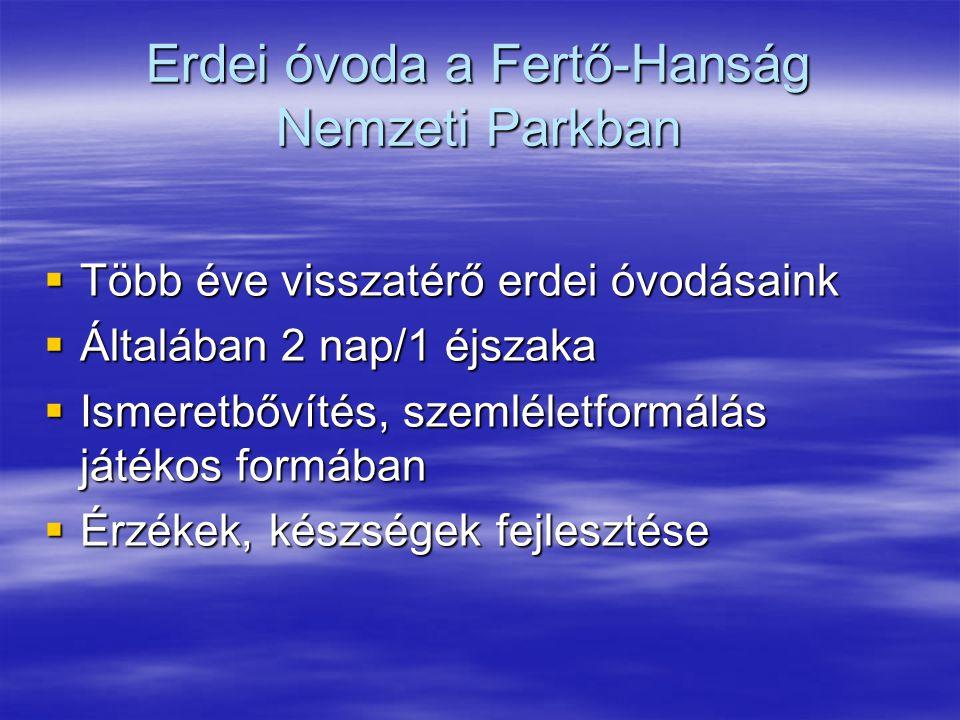 Erdei óvoda a Fertő-Hanság Nemzeti Parkban  Több éve visszatérő erdei óvodásaink  Általában 2 nap/1 éjszaka  Ismeretbővítés, szemléletformálás játékos formában  Érzékek, készségek fejlesztése
