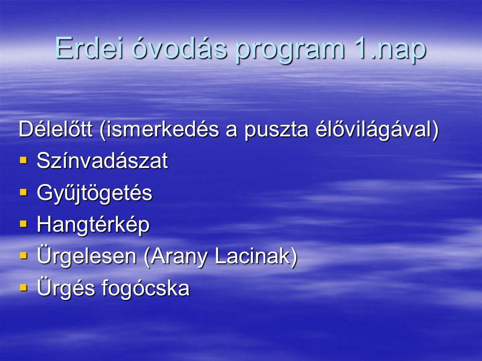 Erdei óvodás program 1.nap Délelőtt (ismerkedés a puszta élővilágával)  Színvadászat  Gyűjtögetés  Hangtérkép  Ürgelesen (Arany Lacinak)  Ürgés fogócska