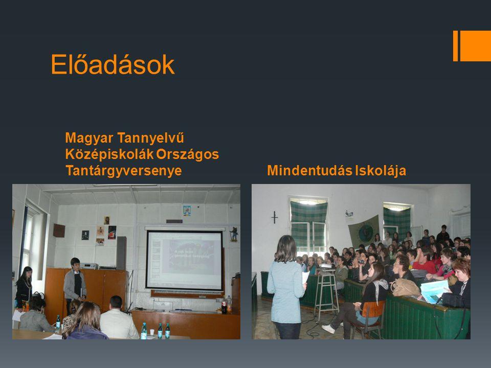 Magyar Tannyelvű Középiskolák Országos TantárgyversenyeMindentudás Iskolája Előadások