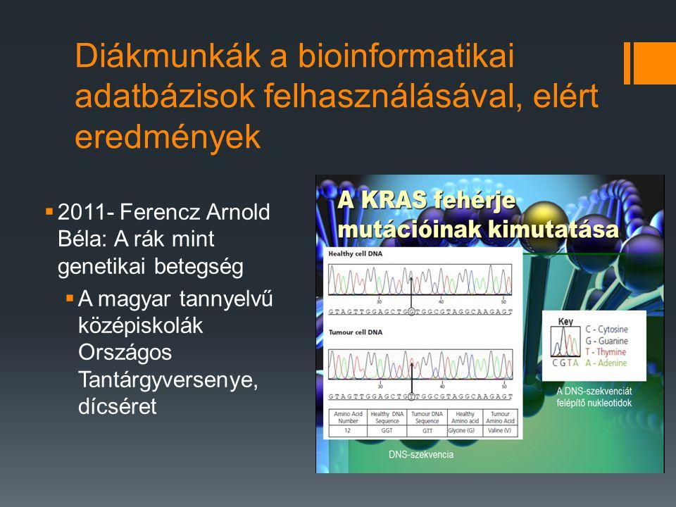 Diákmunkák a bioinformatikai adatbázisok felhasználásával, elért eredmények  2011- Ferencz Arnold Béla: A rák mint genetikai betegség  A magyar tannyelvű középiskolák Országos Tantárgyversenye, dícséret