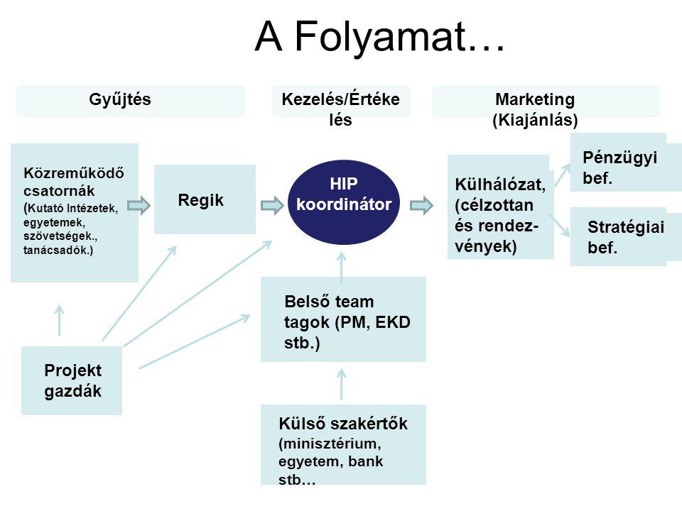 A Folyamat… Közreműködő csatornák ( Kutató Intézetek, egyetemek, szövetségek., tanácsadók.) Projekt gazdák Regik HIP koordinátor Belső team tagok (PM, EKD stb.) Külső szakértők (minisztérium, egyetem, bank stb… Külhálózat, (célzottan és rendez- vények) Pénzügyi bef.