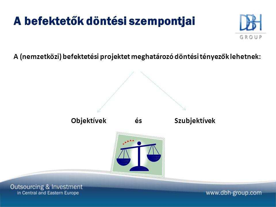 A befektetők döntési szempontjai A (nemzetközi) befektetési projektet meghatározó döntési tényezők lehetnek: Objektívek és Szubjektívek