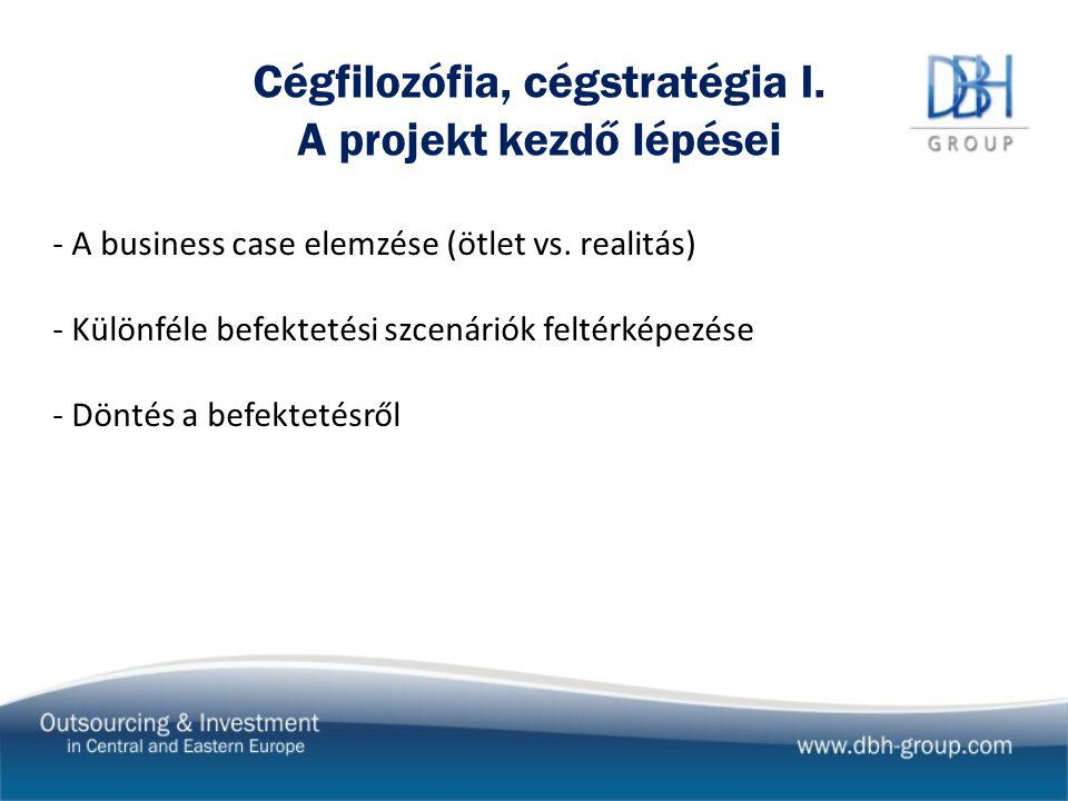Cégfilozófia, cégstratégia I. A projekt kezdő lépései - A business case elemzése (ötlet vs.