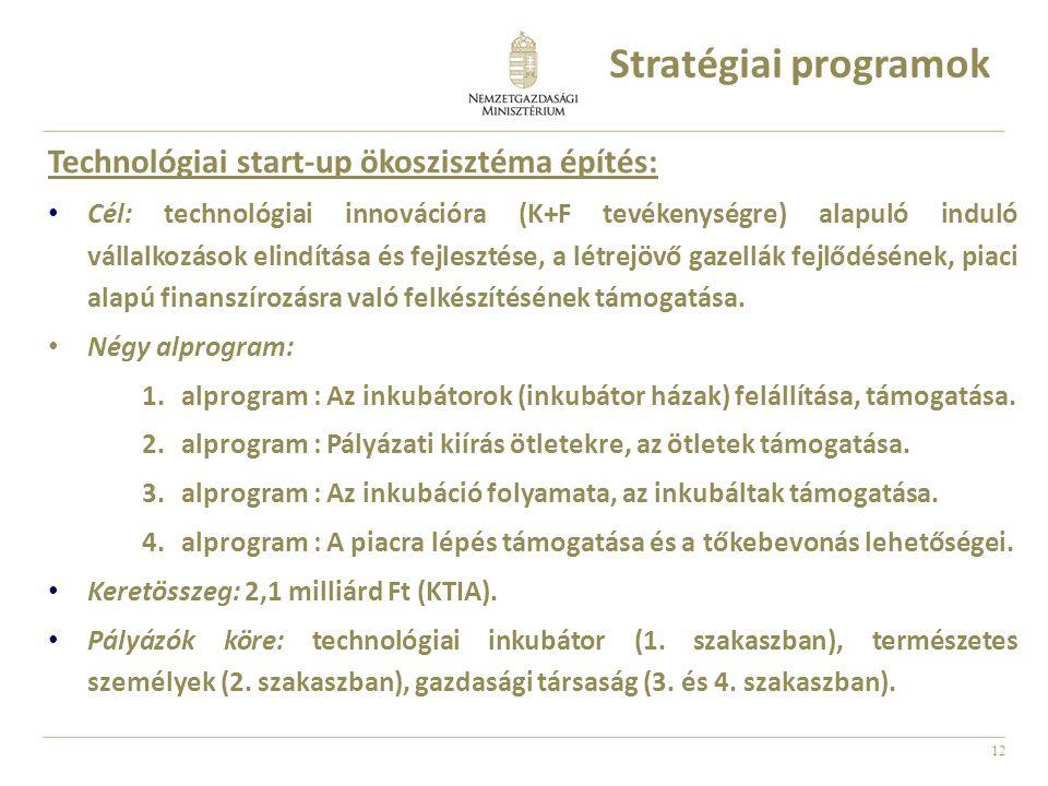 12 Technológiai start-up ökoszisztéma építés: • Cél: technológiai innovációra (K+F tevékenységre) alapuló induló vállalkozások elindítása és fejlesztése, a létrejövő gazellák fejlődésének, piaci alapú finanszírozásra való felkészítésének támogatása.