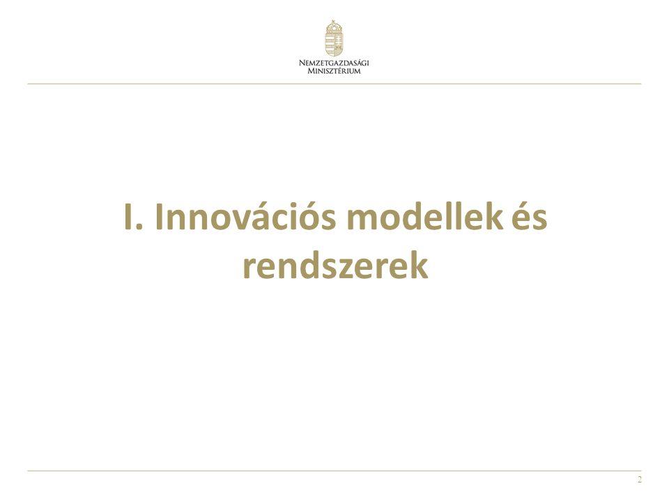 3 A felfedezés, találmány, átvitel és innováció 1 Felfedezés (Discovery): Kitalálni valamit, ami még nem létezik 2 Találmány (Invention): Létrehozni vagy megtervezni valamit, ami nem volt korábban 3 Átvitel (Translation): A felfedezésből vagy találmányból innovációs lesz 4 Innováció (Innovation): A felfedezésekre és/vagy találmányokra alapozva szociális hatású változások generálása A kiváló tudomány és kutatás szükséges, de nem elégséges összetevői az innovációnak