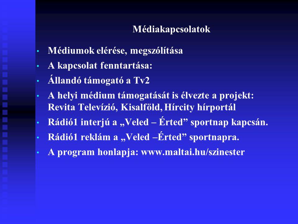"""Médiakapcsolatok • Médiumok elérése, megszólítása • A kapcsolat fenntartása: • Állandó támogató a Tv2 • A helyi médium támogatását is élvezte a projekt: Revita Televízió, Kisalföld, Hírcity hírportál • Rádió1 interjú a """"Veled – Érted sportnap kapcsán."""