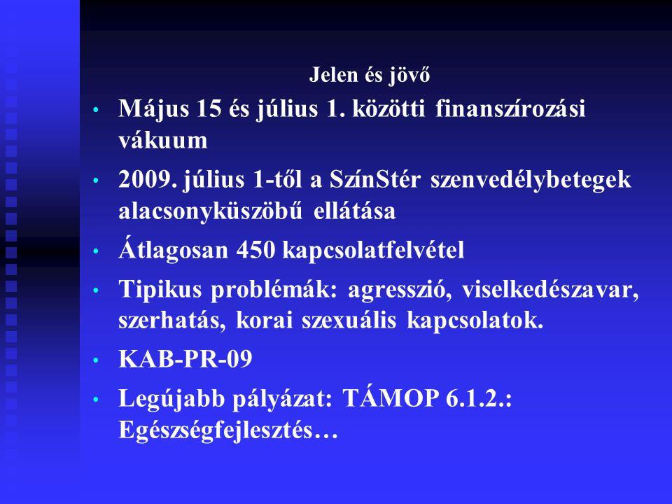 Jelen és jövő • Május 15 és július 1. közötti finanszírozási vákuum • 2009.