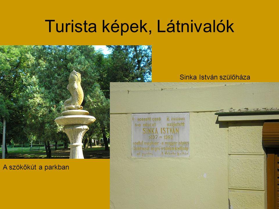 Turista képek, Látnivalók A szökőkút a parkban Sinka István szülőháza