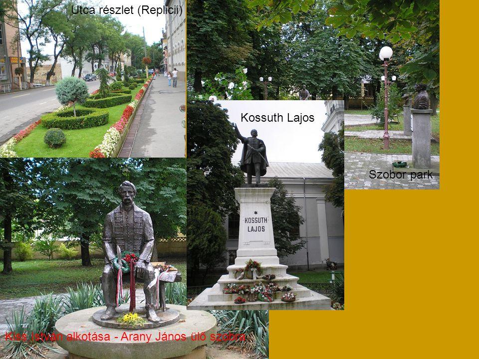 Utca részlet (Replicii) Szobor park Kiss István alkotása - Arany János ülő szobra Kossuth Lajos
