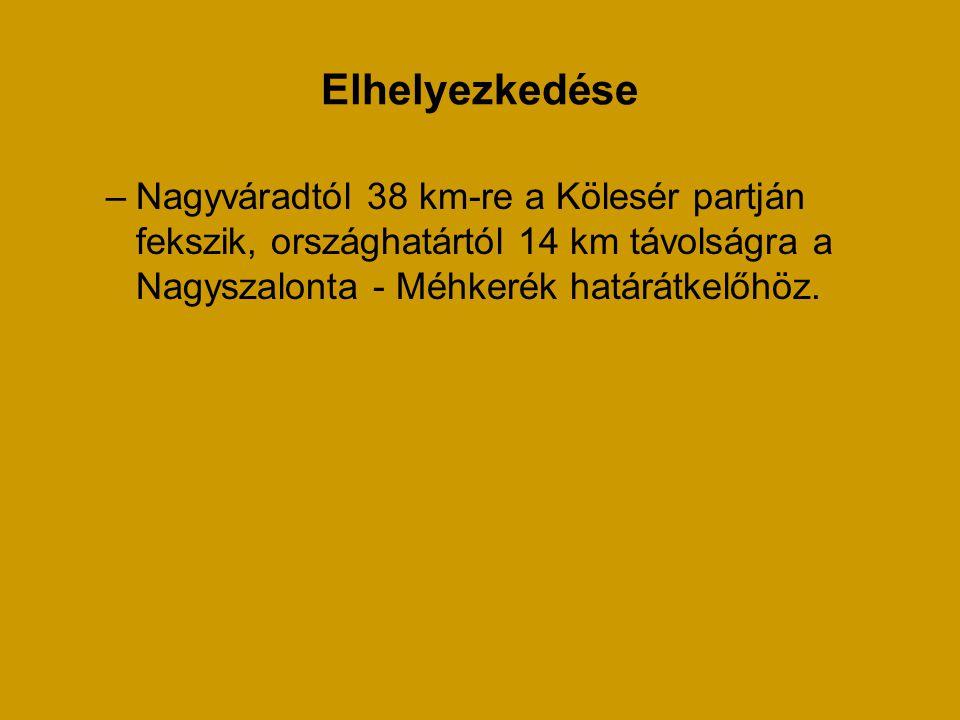 Elhelyezkedése –Nagyváradtól 38 km-re a Kölesér partján fekszik, országhatártól 14 km távolságra a Nagyszalonta - Méhkerék határátkelőhöz.