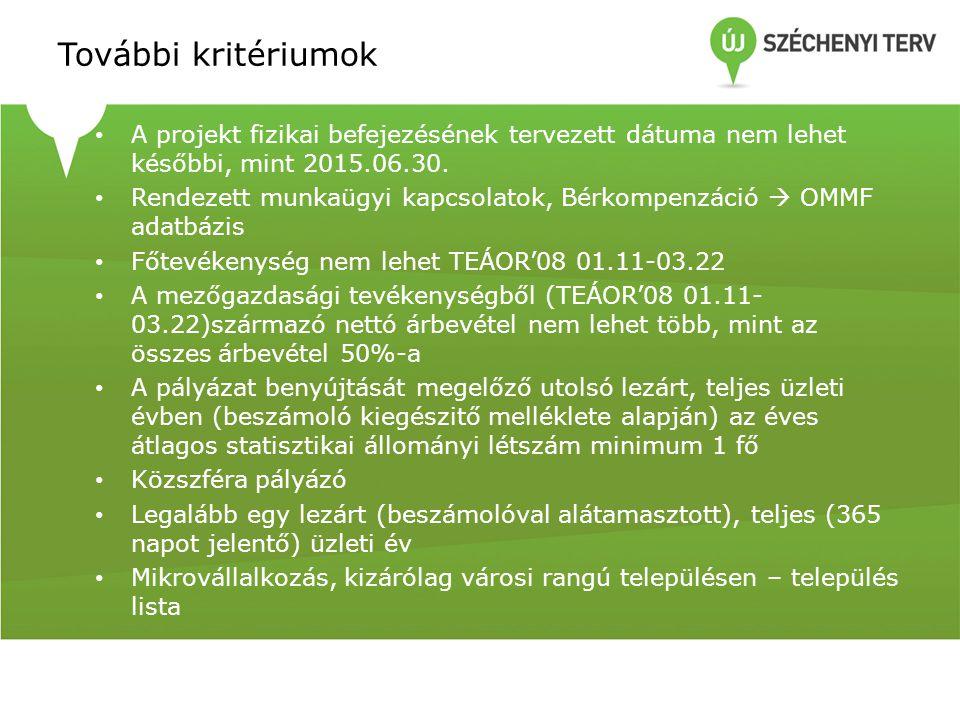 További kritériumok • A projekt fizikai befejezésének tervezett dátuma nem lehet későbbi, mint 2015.06.30. • Rendezett munkaügyi kapcsolatok, Bérkompe