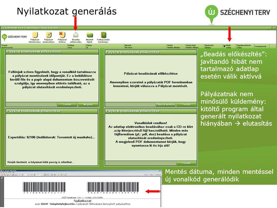 """Nyilatkozat generálás """"Beadás előkészítés"""": javítandó hibát nem tartalmazó adatlap esetén válik aktívvá Pályázatnak nem minősülő küldemény: kitöltő pr"""