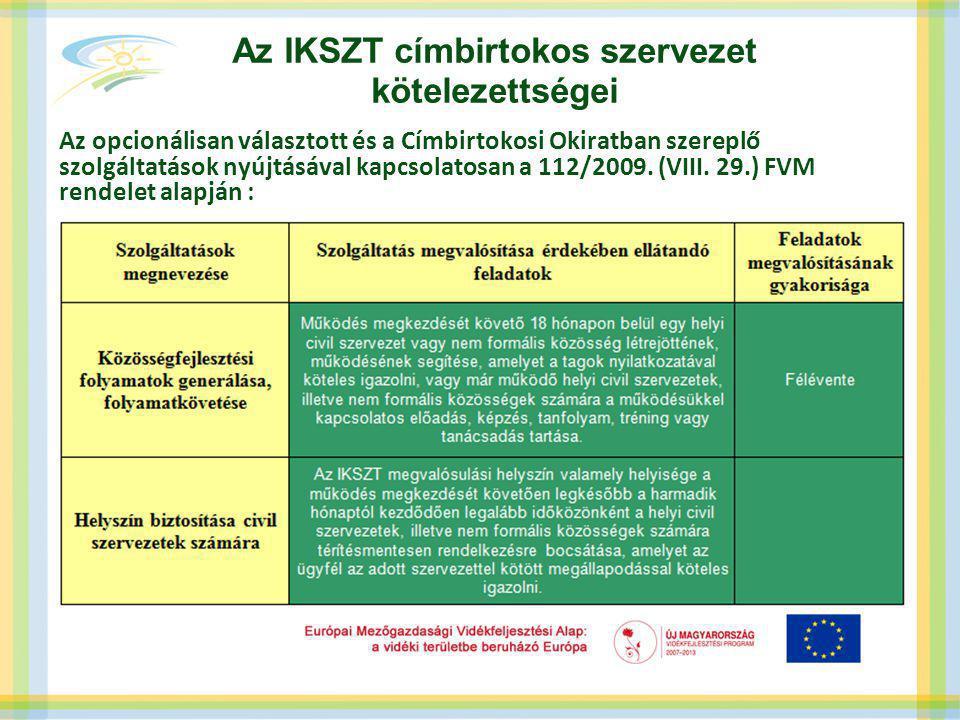 Az IKSZT címbirtokos szervezet kötelezettségei Az opcionálisan választott és a Címbirtokosi Okiratban szereplő szolgáltatások nyújtásával kapcsolatosan a 112/2009.