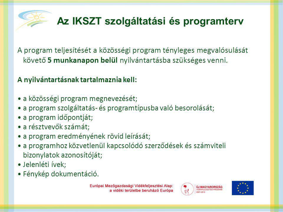 Az IKSZT szolgáltatási és programterv A program teljesítését a közösségi program tényleges megvalósulását követő 5 munkanapon belül nyilvántartásba szükséges venni.