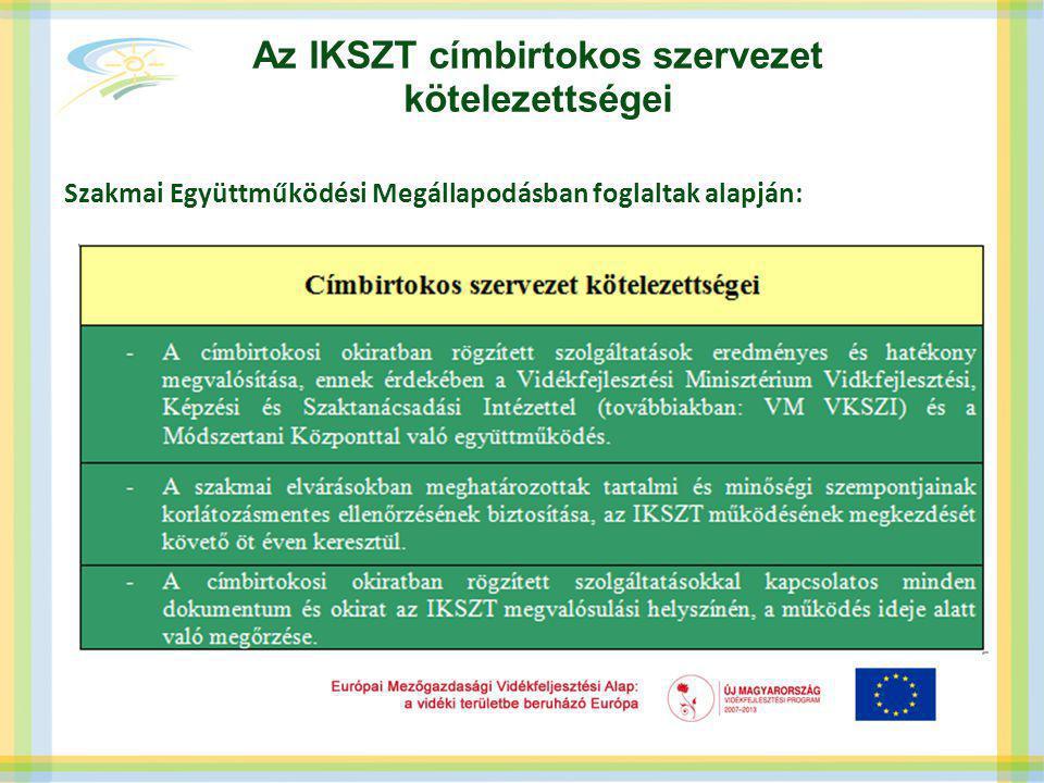 Az IKSZT címbirtokos szervezet kötelezettségei Szakmai Együttműködési Megállapodásban foglaltak alapján: