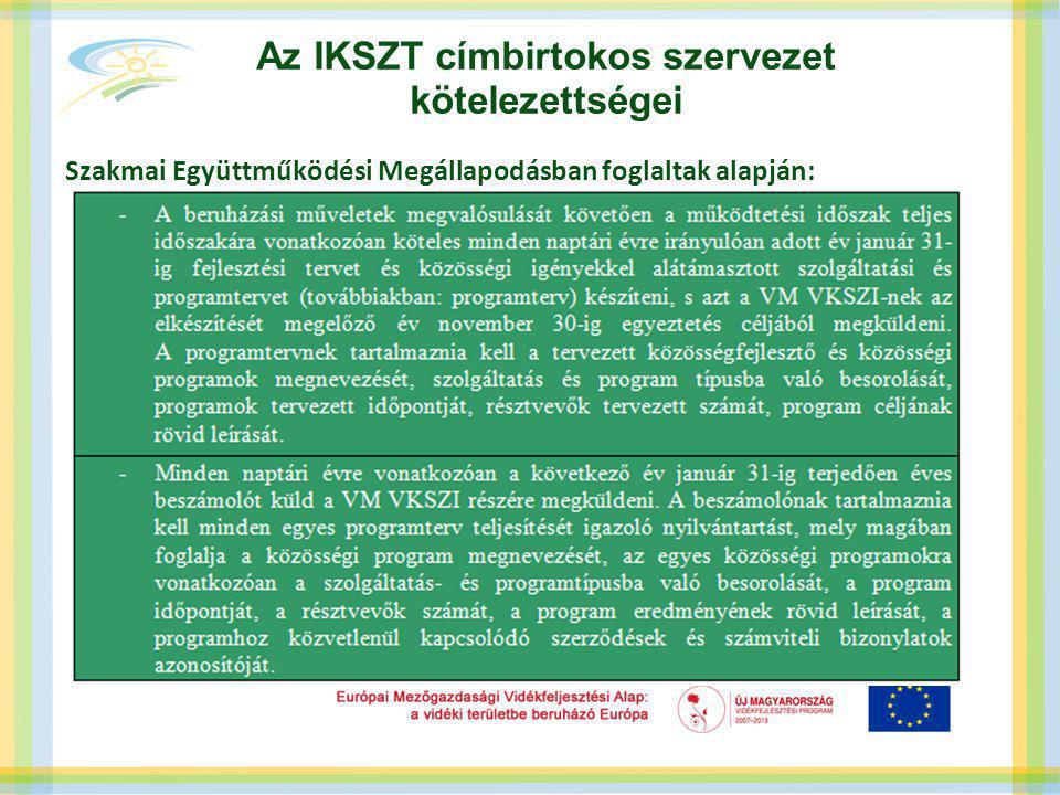 Az IKSZT címbirtokos szervezet kötelezettségei Az elszámolás tekintetében egy program szervezése csak egy szolgáltatás nyújtásához kapcsolódhat.