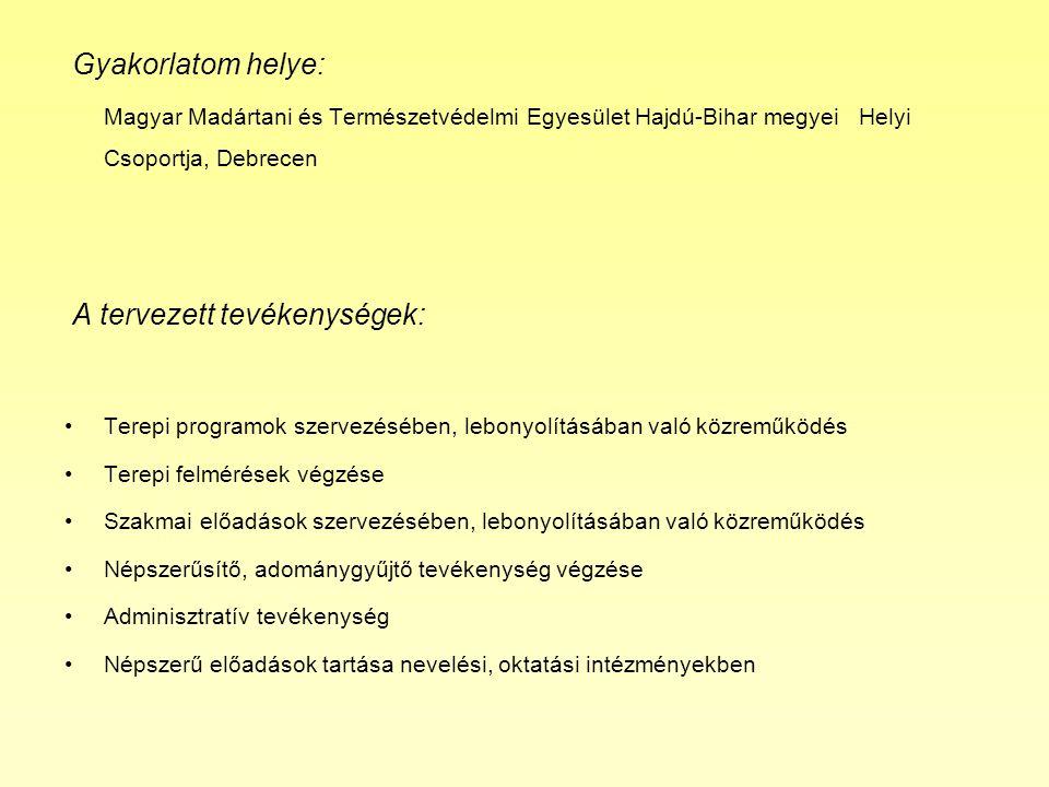 Gyakorlatom helye: Magyar Madártani és Természetvédelmi Egyesület Hajdú-Bihar megyei Helyi Csoportja, Debrecen A tervezett tevékenységek: •Terepi programok szervezésében, lebonyolításában való közreműködés •Terepi felmérések végzése •Szakmai előadások szervezésében, lebonyolításában való közreműködés •Népszerűsítő, adománygyűjtő tevékenység végzése •Adminisztratív tevékenység •Népszerű előadások tartása nevelési, oktatási intézményekben