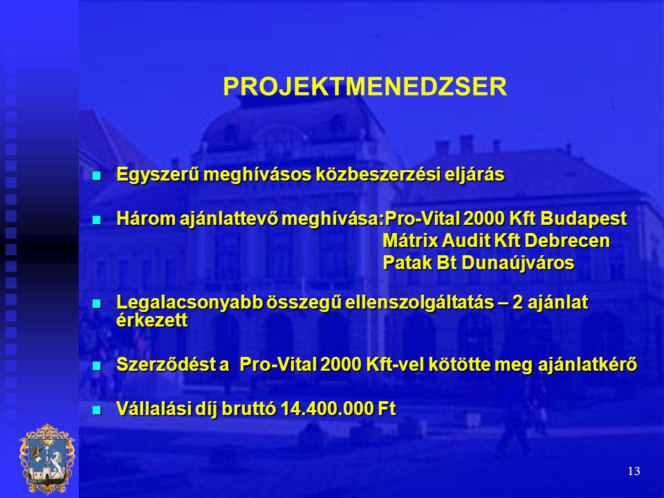 13 PROJEKTMENEDZSER  Egyszerű meghívásos közbeszerzési eljárás  Három ajánlattevő meghívása:Pro-Vital 2000 Kft Budapest Mátrix Audit Kft Debrecen Má