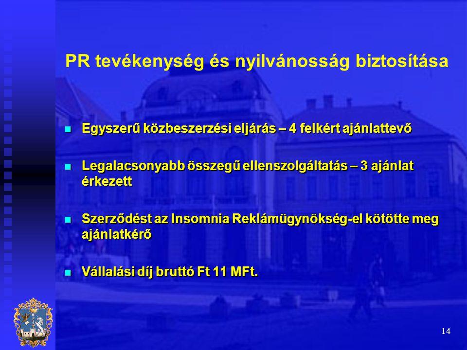 14 PR tevékenység és nyilvánosság biztosítása  Egyszerű közbeszerzési eljárás – 4 felkért ajánlattevő  Legalacsonyabb összegű ellenszolgáltatás – 3