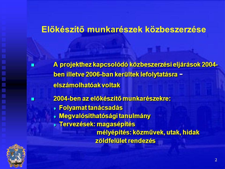 2 Előkészítő munkarészek közbeszerzése  A projekthez kapcsolódó közbeszerzési eljárások 2004- ben illetve 2006-ban kerültek lefolytatásra - elszámolh