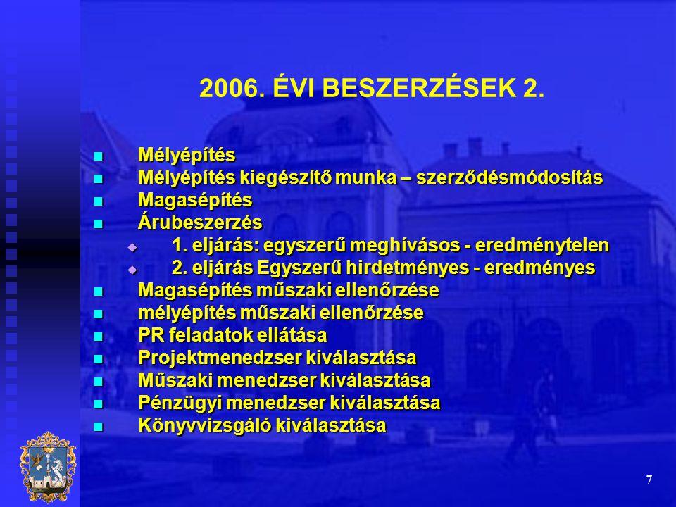 7 2006. ÉVI BESZERZÉSEK 2.  Mélyépítés  Mélyépítés kiegészítő munka – szerződésmódosítás  Magasépítés  Árubeszerzés  1. eljárás: egyszerű meghívá
