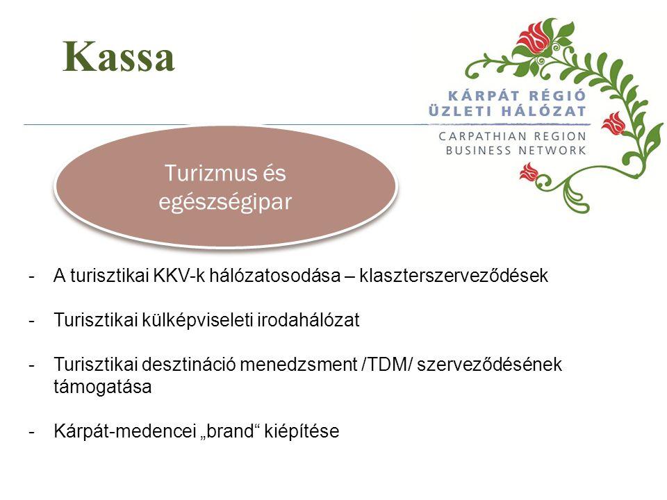 Kassa Turizmus és egészségipar -A turisztikai KKV-k hálózatosodása – klaszterszerveződések -Turisztikai külképviseleti irodahálózat -Turisztikai deszt