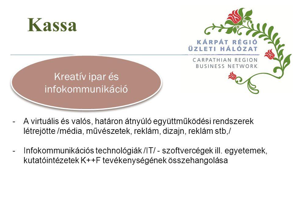 Kassa Kreatív ipar és infokommunikáció -A virtuális és valós, határon átnyúló együttműködési rendszerek létrejötte /média, művészetek, reklám, dizajn,