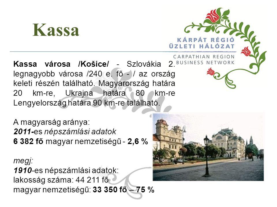 Kassa Kassa városa /Košice/ - Szlovákia 2. legnagyobb városa /240 e. fő - / az ország keleti részén található. Magyarország határa 20 km-re, Ukrajna h