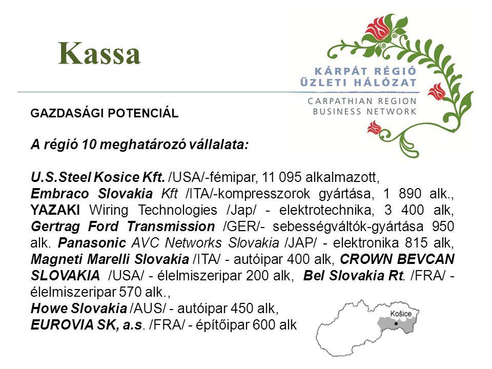 Kassa A régió 10 meghatározó vállalata: U.S.Steel Kosice Kft. /USA/-fémipar, 11 095 alkalmazott, Embraco Slovakia Kft /ITA/-kompresszorok gyártása, 1