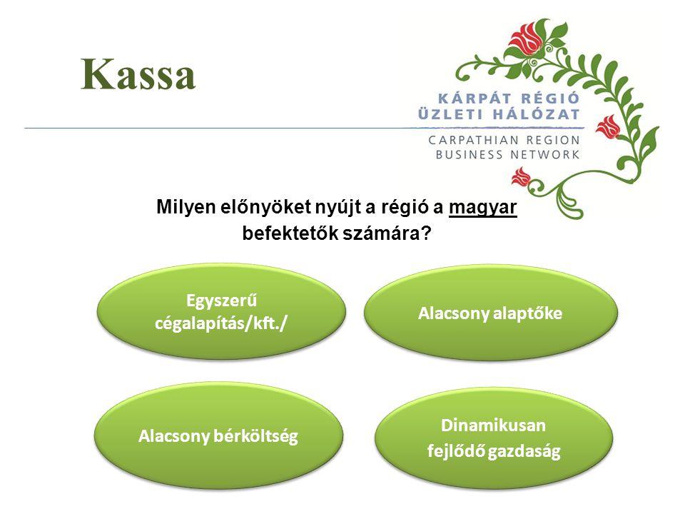 Kassa Milyen előnyöket nyújt a régió a magyar befektetők számára? Egyszerű cégalapítás/kft./ Alacsony bérköltség Dinamikusan fejlődő gazdaság Alacsony