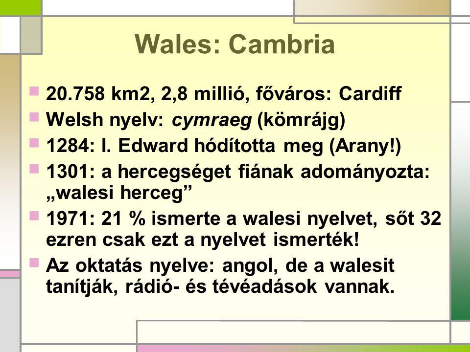 Wales: Cambria  20.758 km2, 2,8 millió, főváros: Cardiff  Welsh nyelv: cymraeg (kömrájg)  1284: I. Edward hódította meg (Arany!)  1301: a hercegsé