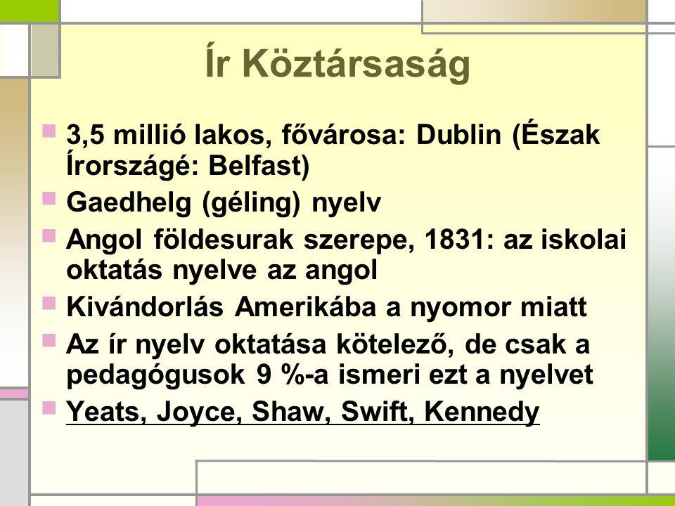 Ír Köztársaság  3,5 millió lakos, fővárosa: Dublin (Észak Írországé: Belfast)  Gaedhelg (géling) nyelv  Angol földesurak szerepe, 1831: az iskolai