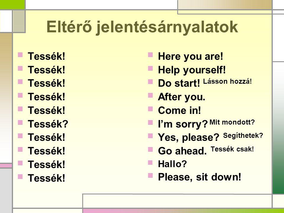 Eltérő jelentésárnyalatok  Tessék!  Tessék?  Tessék!  Here you are!  Help yourself!  Do start! Lásson hozzá!  After you.  Come in!  I'm sorry