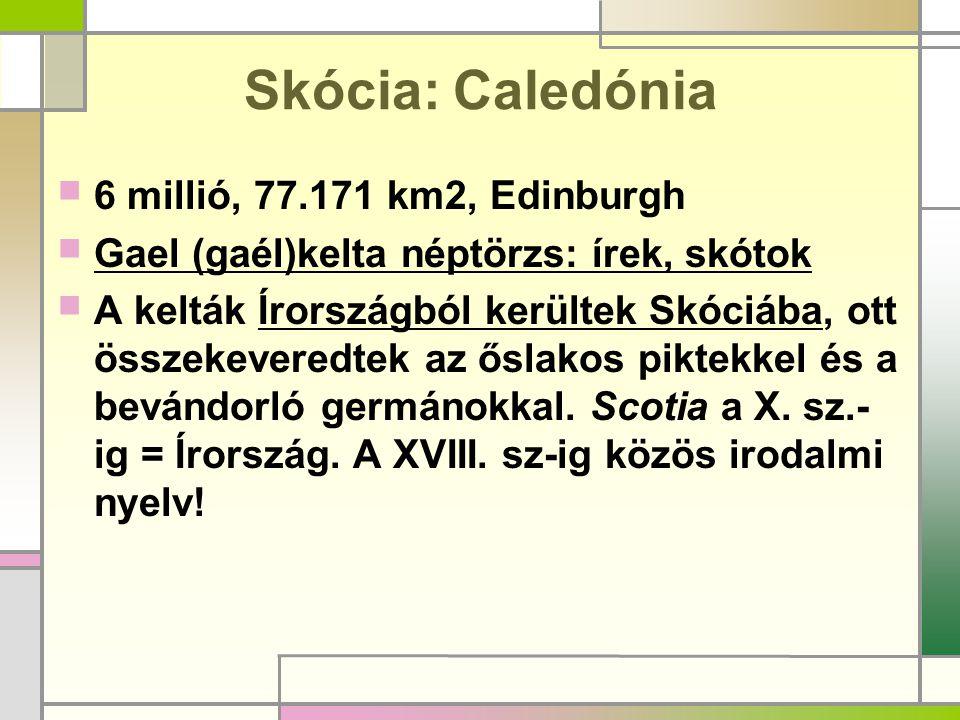 Skócia: Caledónia  6 millió, 77.171 km2, Edinburgh  Gael (gaél)kelta néptörzs: írek, skótok  A kelták Írországból kerültek Skóciába, ott összekever