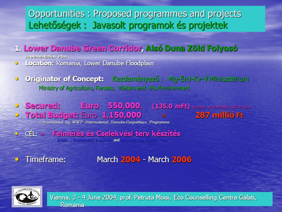 Opportunities : Proposed programmes and projects Lehetőségek : Javasolt programok és projektek Opportunities : Proposed programmes and projects Lehető