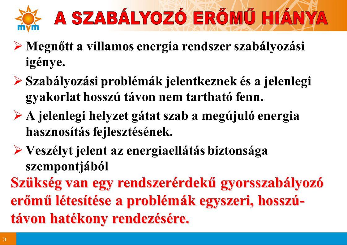 3  Megnőtt a villamos energia rendszer szabályozási igénye.  Szabályozási problémák jelentkeznek és a jelenlegi gyakorlat hosszú távon nem tartható