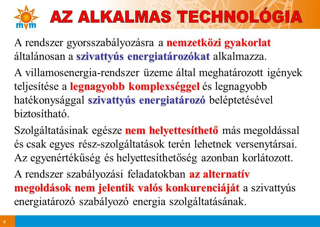4 nemzetközi gyakorlat szivattyús energiatározókat A rendszer gyorsszabályozásra a nemzetközi gyakorlat általánosan a szivattyús energiatározókat alkalmazza.